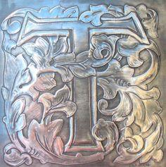 Letter T Monogram Pewter Artwork by ARCHIVES on Etsy