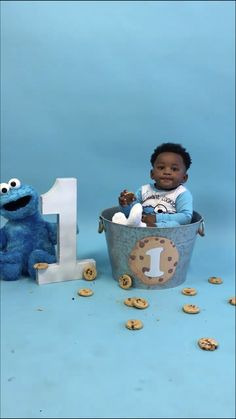 Adorable baby boy celebrating his first birthday with Cookie Monster