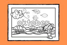 Lär dig skriva namnet på och känna igen hösttecknen för månaden #oktober medan du färglägger målarbilden.   #färglägga #målarbild #höst #skola #förskola #fritids #pedagog Math Worksheets, November, Social Studies, Stencil, Art For Kids, Coloring Pages, Preschool, Google Drive, Medan