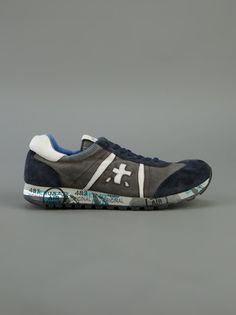 PREMIATA WHITE Blue washed leather 'Lucy' sneaker http://man.jofre.eu