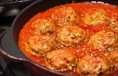 WW Meatballs in Tomato Sauce - Main Course and Recipe - italian recipes Ww Recipes, Italian Recipes, Cooking Recipes, Healthy Recipes, Recipies, Best Italian Meatball Recipe, Meatball Recipes, Italian Meatballs, Easy Vegetarian Casseroles