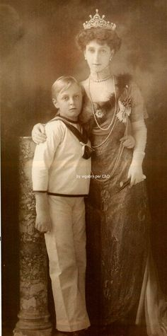 Queen Maud of Norway and her son. Later King Olav of Norway.