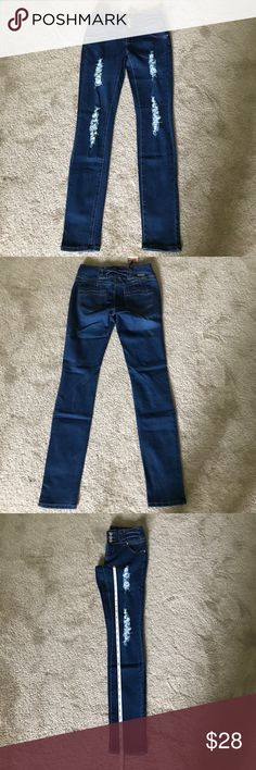 Distressed Jeans with Stretch Distressed Jeans with Stretch (Boutique) Measurements:  Waist: Approx 14.5in   Inseam: Approx 30.5in   ✔️Offers Welcome ✔️ Jeans