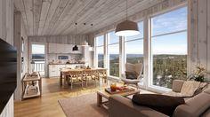 3D bilde av kjøkken og stue. 3,5 meter høyde i front av hytta. Store vinduer med panoramautsikt.