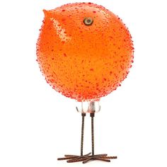 "An uncommon, unique and beautiful ""pulcini"" bird sculpture made from textured handblown glass with applied hand cut Millefiore eyes, perched on feet crafted of gilt blackened copper. Cica 1960"