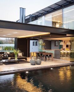 Outdoor living area and pool