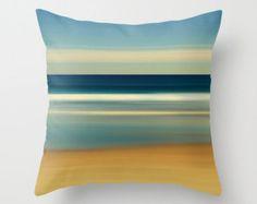 Beach Photography Pillow or Pillow Cover Nautical Stripes Beach Decor Living Room Navy Blue White Beige Tan Sand Coastal Bedroom Decor