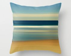 Beach Photography Pillow or Pillow Cover Nautical Stripes Beach Decor Living Room Navy Blue White Beige Tan Sand Coastal Bedroom Decor