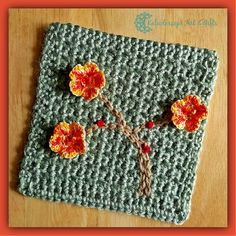 "Charming Cherry Blossom 6"" Square, free #crochet pattern by Kaleidoscope Art n Gifts - part of Mystery Lapghan CAL"