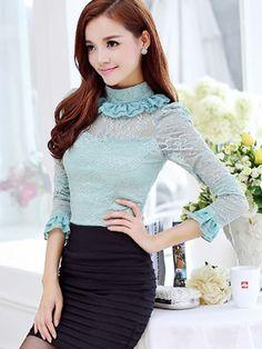 Mandarin Collar Lace Shirt