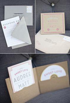 Love this wedding invitation! Music themed...