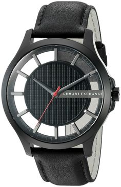 Armani Exchange Men's AX2180 Black Leather Watch. Features a durable mineral crystal. A fashionable leather strap. Analog-quartz Movement. Case Diameter: 46mm. Water Resistant To 50m (165ft: in General, Suitable for Short Periods Of Recreational Swimming, but not Diving or Snorkeling.