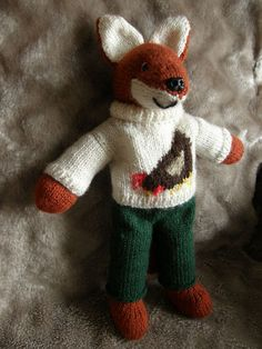 """Adorable """"Henry the Fox"""" knitted toy by cardsbyjane. how could I resist a repin."""