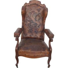Tooled Dragon Leather Wing Chair ❤ Liked On Polyvore Featuring Home,  Furniture, Chairs,