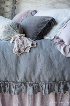 Bedroom ~ French Grey and Powder lavender luxury bedding from Bella Notte Linens Shabby Chic Bedrooms, Shabby Chic Homes, Shabby Chic Decor, Trendy Bedroom, Modern Bedroom, Grey Bedding, Luxury Bedding, Bedding Sets, Linen Bedding