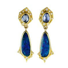 22 and 18K Yellow Gold Post Earrings with Blue Sapphires, Opal Drops, and Diamonds by Annie Fensterstock
