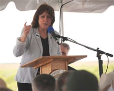 Assistant Secretary of the Army for Civil Works Jo-Ellen Darcy spoke at the Tamiami Trail One-Mile Bridge Opening Ceremony March 19, 2013, in Miami, Fla., alongside Secretary of the Interior Ken Salazar, Everglades National Park Superintendent Dan Kimball, and South Florida National Parks Trust Board Chairman Neal McAliley.