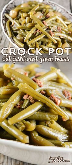How to Cook Fresh Green Beans in the Crock Pot Crock Pot Old Fashioned Green Beans: Are you wondering how to cook fresh green beans in the crock pot? Our favorite slow cooker green bean recipe has that delicious old fashioned flavor of bacon and onions. Crockpot Dishes, Crock Pot Slow Cooker, Crock Pot Cooking, Healthy Crockpot Recipes, Pressure Cooker Recipes, Veggie Recipes, Cooking Recipes, Crockpot Veggies, Crock Pot Vegetables