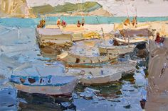 Cool Paintings, Beautiful Paintings, Abstract Landscape, Landscape Paintings, Landscapes, Russian Painting, Boat Painting, Impressionist Paintings, Traditional Paintings