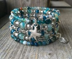 Beachy Blue Multi Strand Memory Wire Wrap Bracelet With Nautical Charms by ericka