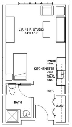Ideas For Apartment Floor Plan Studio Layout Studio Apartments, Studio Apartment Floor Plans, Studio Floor Plans, Studio Apartment Layout, Garage Floor Plans, Studio Layout, Barndominium Floor Plans, Apartment Plans, Cool Apartments
