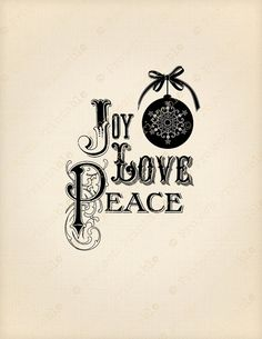 CHRISTMAS bauble JOY LOVE PEACE clipart Printable Image Transfer - Great for wood, fabric, canvas, burlap - Instant Digital Download - Downloadable Scrapbooking and Digital Collage Graphics - Vintage Inspired Clip Art by ProjectPrintable