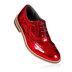3015c9a08be4 Red Metallic Brogue Shoes