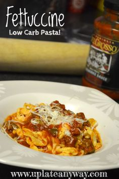 """New low carb Fettuccine made with mozzarella and egg yolk (that's it). aka """"CHOODLES"""" Tastes JUST LIKE regular pasta with sauce! And legitimately lowcarb. 2 carbs per one cup serving. Banting Recipes, Low Carb Recipes, Cooking Recipes, Healthy Recipes, Ketogenic Recipes, Healthy Eats, Carbquik Recipes, Bariatric Recipes, Pasta Recipes"""