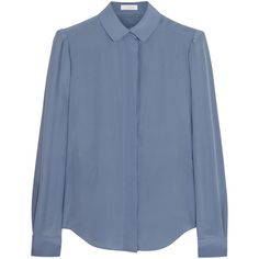 Chloé Silk crepe de chine blouse (7 200 UAH) ❤ liked on Polyvore featuring tops, blouses, light blue, blue blouse, ruched top, silk top, chloe top and chloe blouse