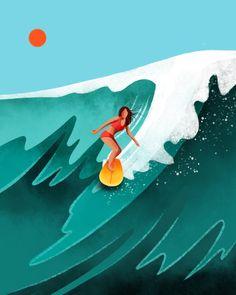 A curation of surfing and surf culture-inspired illustrations and illustrators, including Kentaro Yoshida, Kat Reeder, Kris Goto and Art And Illustration, Illustrations Posters, Surf Drawing, Art Watercolor, Surf Art, Grafik Design, Art Sketchbook, Cute Wallpapers, Art Inspo