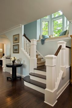 Love the open staircase and window seat.I totally want a window seat in my dream home! Traditional Staircase, Sweet Home, Character Home, Interior Exterior, Interior Design, Interior Trim, Kitchen Interior, Modern Interior, Interior Decorating