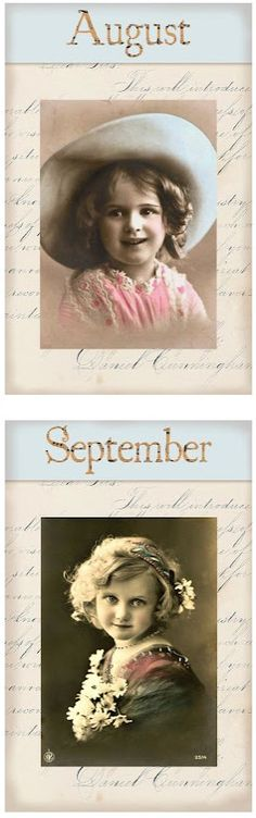 "Victorian ""Calender Girls"" ~ Lovely Free Printables for each month of the year!"