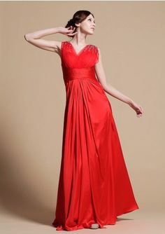 A-line V-neck Floor-length Red Chiffon With Beaded Prom Dresses