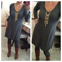 Let's Talk TUNICS!  This grey dress pairs with leggings perfectly and it would be so easy to layer things on top!