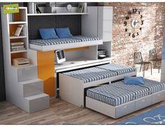 literas triples literas fijas con tres camas dormitorios juveniles e infantiles compactos camas nido pinterest double beds bunk bed and ideas para
