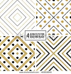 Set of geometric seamless pattern of gold and black stripes and circles, abstract background of golden shiny and black lines and points, vector for invitation, card, wedding, web, paper, wrapping