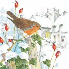 """The Legend of the Christmas Robin ~  """"Legend tells how a robin, On the night of the first Nel Braved the frosty winter night So the baby might sleep well.  Throughout the night, the small grey wings Did flutter for all their worth And fanned the fire that warmed the Christ His first night here on Earth.  In the heat of stirring the lonely fire The shepherds have it said The Robin wears with honor A breast of Christmas Red."""""""