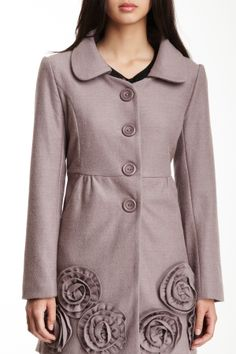 Floral Applique Wool Blend Coat on HauteLook
