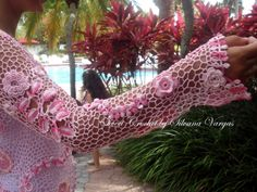 "Irish Crochet ""Secret Garden"" cardigan Sleeve detail!"