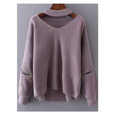 Purple Choker V Neck Zipper Detail Sweater ($25) ❤ liked on Polyvore featuring tops, sweaters, purple sweater, purple v neck sweater, v neck sweater, purple top and v-neck tops