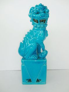 Turquoise/Teal Chinese Foo Dog Statue