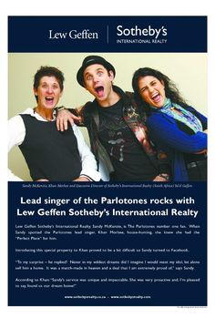 The lead singer of Parletones rocks with Lew Geffen Sotheby's International Realty.