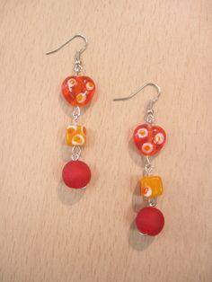 blown glass bead earrings