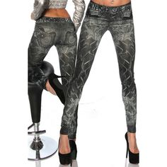 Casual Slimming Mid Waisted Tattoo Graffiti Print Women s Jean... ($8.30) ❤ liked on Polyvore featuring pants, leggings, black, slimming jeggings, jeggings leggings, slim fit pants, slim pants and slimming leggings