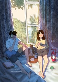 Myeong-Minho is a South Korea-based illustrator who draws beautiful, romantic moments of couples lives. Cute Couple Drawings, Cute Couple Art, Anime Love Couple, Couple Cartoon, Cute Drawings, Romantic Anime Couples, Cute Anime Couples, Aesthetic Art, Aesthetic Anime