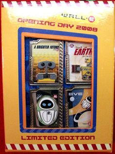 Disney RARE  Pin Set 63219 WDW WALL-E Opening Day  Boxed Set MIB