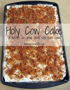 "You can never have too many easy cake mix recipes, and this Holy Cow Cake is one. You can never have too many easy cake mix recipes, and this Holy Cow Cake is one you& want to make for every occasion. It& so good, it will make you say, ""holy cow! Easy Cake Recipes, Sweet Recipes, Sheet Cake Recipes, Easy Desert Recipes, Banana Recipes, Best Dessert Recipes, Simple Recipes, Pumpkin Recipes, Holy Cow Cakes"