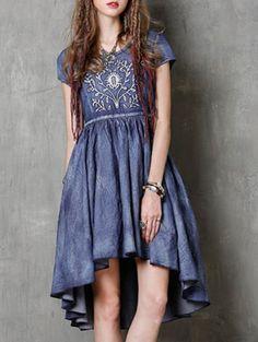 Stylish Round Neck Short Sleeve Embroidery Vintage Denim Women s Dress 733a415ca0a7