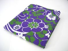 Funky Floral Pillow Case 1970s Purple Green by RaggleTaggleHawker, £7.49