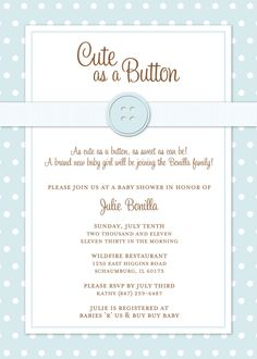 Solid Color Polka Dot Cute As A Button Baby Shower Invitation - Digital File. $15.00, via Etsy.